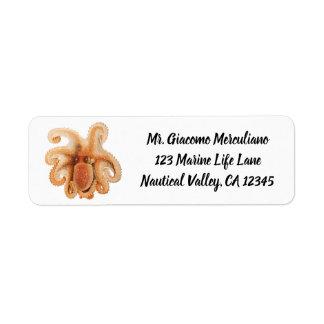Étiquette Poulpe vintage Salutii, animaux aquatiques marins