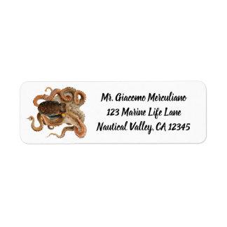 Étiquette Poulpe vintage vulgaris, animaux d'espèce marine