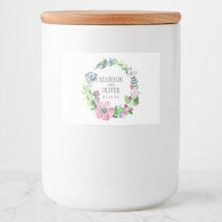 Étiquette Pour Bocaux Aquarelle de Boho florale et papillon | épousant