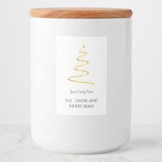 Étiquette Pour Bocaux Arbre moderne de Noël dans d'or - mangez la
