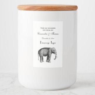 Étiquette Pour Bocaux Dessin vintage d'éléphant