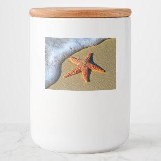 Étiquette Pour Bocaux Étoiles de mer oranges sur la plage