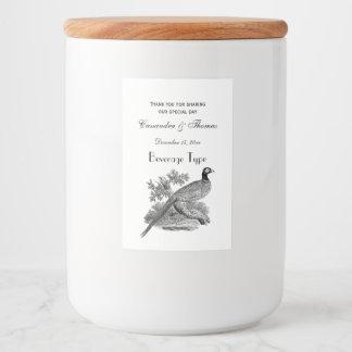 Étiquette Pour Bocaux Gibier à plumes vintage de faisan dessinant BW