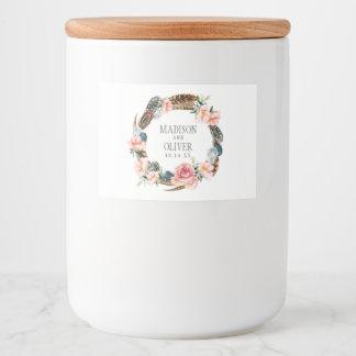 Étiquette Pour Bocaux Guirlande florale d'aquarelle avec des plumes |