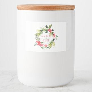 Étiquette Pour Bocaux Guirlande florale | d'aquarelle d'hiver épousant