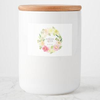 Étiquette Pour Bocaux Guirlande florale | d'aquarelle rose et jaune