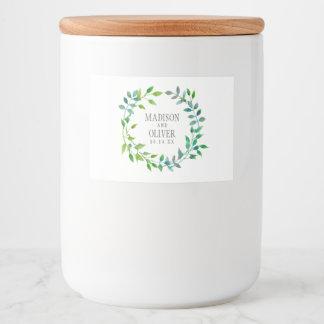 Étiquette Pour Bocaux Guirlande verte | de feuille d'aquarelle épousant