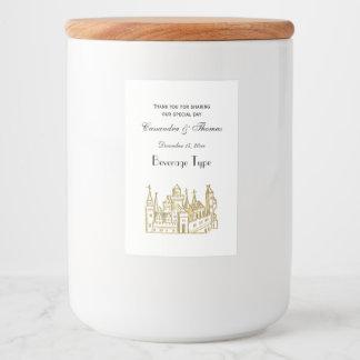Étiquette Pour Bocaux Or héraldique vintage de Faux de crête du château