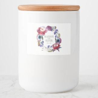 Étiquette Pour Bocaux Pivoine de fleur sauvage florale avec des plumes |