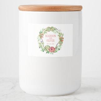 Étiquette Pour Bocaux Succulent vert et rose floral vintage | épousant
