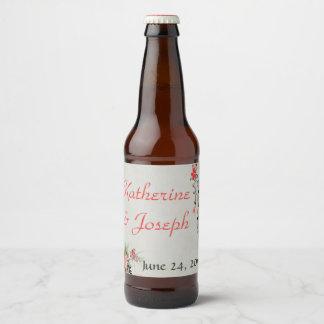 Étiquette Pour Bouteilles De Bière Aquarelle florale de style oriental