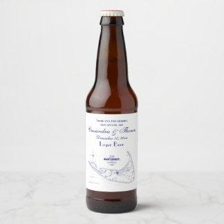 Étiquette Pour Bouteilles De Bière Bleu marine vintage de carte de mA d'île de
