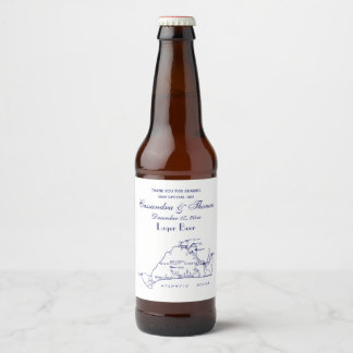 Étiquette Pour Bouteilles De Bière Bleu marine vintage de la carte #1 de Martha's