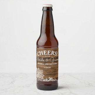 Étiquette Pour Bouteilles De Bière Bois rustique de grange et mariage personnalisé
