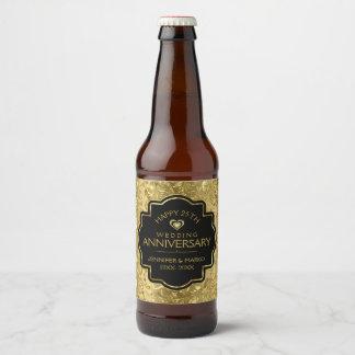 Étiquette Pour Bouteilles De Bière cinquantième Noir d'anniversaire de mariage et