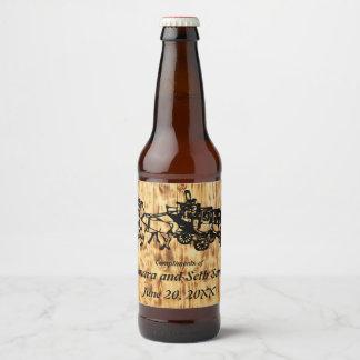 Étiquette Pour Bouteilles De Bière Conseils en bois et diligence de style occidental
