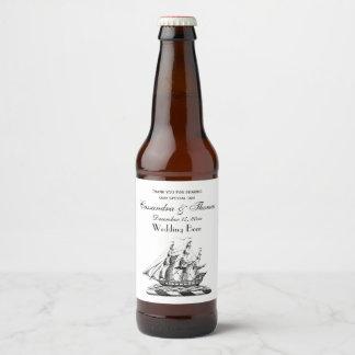 Étiquette Pour Bouteilles De Bière Crête nautique vintage héraldique de bateau de