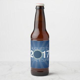 Étiquette Pour Bouteilles De Bière Éclipse solaire totale 2017 - conception bleue