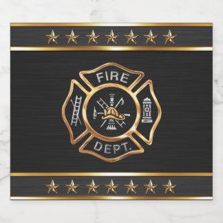 Étiquette Pour Bouteilles De Bière Emblème d'or de sapeur-pompier