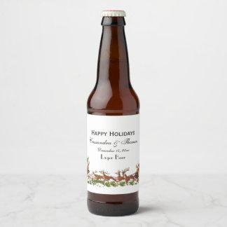 Étiquette Pour Bouteilles De Bière Frontière de renne de Noël Père Noël Sleigh de