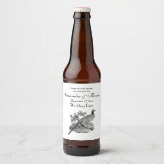 Étiquette Pour Bouteilles De Bière Gibier à plumes vintage de faisan dessinant BW