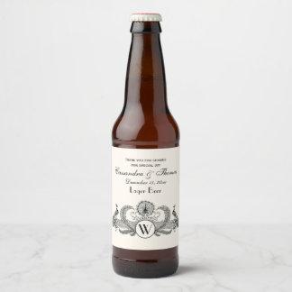Étiquette Pour Bouteilles De Bière Ivoire vintage BG de monogramme de paons