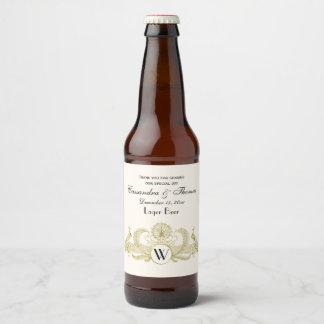 Étiquette Pour Bouteilles De Bière Ivoire vintage BG d'or de Faux de monogramme de