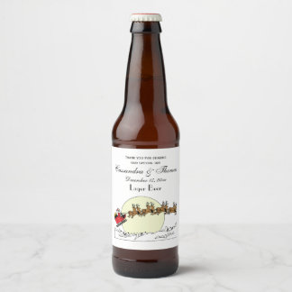 Étiquette Pour Bouteilles De Bière Le renne de Père Noël au-dessus de la neige a