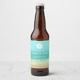 Étiquette Pour Bouteilles De Bière L'eau bleue d'Aqua/bord de la mer peint de plage