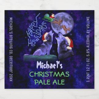 Étiquette Pour Bouteilles De Bière Loups faits sur commande de Howlidays de brew à la