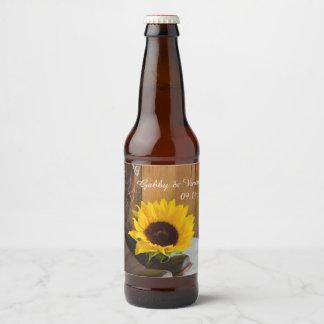 Étiquette Pour Bouteilles De Bière Mariage occidental de tournesol de pays