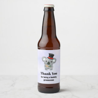 Étiquette Pour Bouteilles De Bière Merci de Groomsman avec le calembour de koala