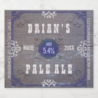 Étiquette Pour Bouteilles De Bière Métier en bois rustique Homebrewing de vieille