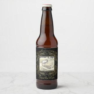 Étiquette Pour Bouteilles De Bière Sauvez le manuscrit élégant de regard de points de