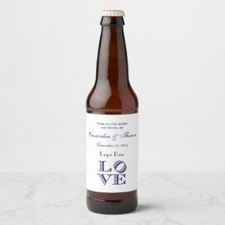 Étiquette Pour Bouteilles De Bière Texte graphique d'AMOUR - bleu