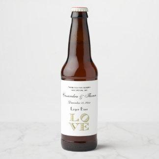 Étiquette Pour Bouteilles De Bière Texte graphique d'AMOUR - or de Faux