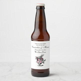 Étiquette Pour Bouteilles De Bière Trompettiste blanc Alice de cour de lapin au pays
