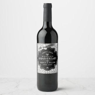 Étiquette Pour Bouteilles De Vin 25ème Diamants blancs et noir d'anniversaire de