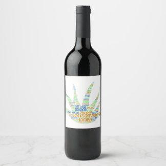 Étiquette Pour Bouteilles De Vin Alove Vera illustrée avec des villes de la Floride