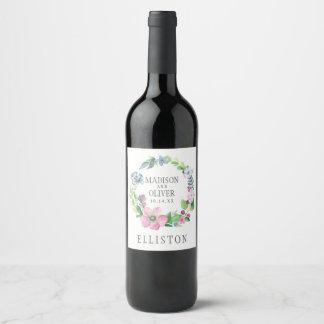 Étiquette Pour Bouteilles De Vin Aquarelle de Boho florale et papillon | épousant