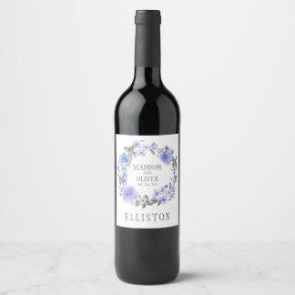 Étiquette Pour Bouteilles De Vin Aquarelle pourpre en pastel | floral épousant