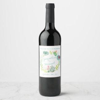 Étiquette Pour Bouteilles De Vin Art occidental de Boho de guirlande de cactus de