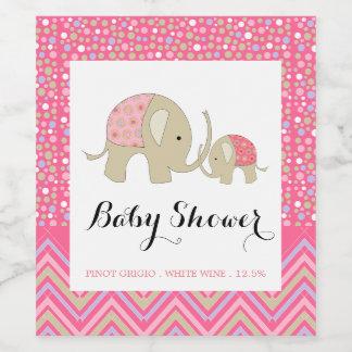 Étiquette Pour Bouteilles De Vin Baby shower de Bohème rose d'éléphant et de