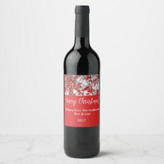 Étiquette Pour Bouteilles De Vin Baies nourriture de houx de vacances et ensemble