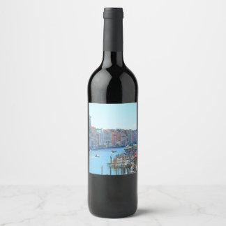 Étiquette Pour Bouteilles De Vin Bateaux dans les canaux de Venise Italie