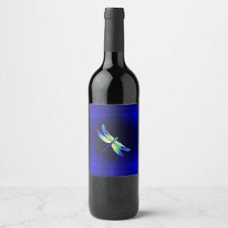 Étiquette Pour Bouteilles De Vin Bleu électrique de libellule - personnalisez avec