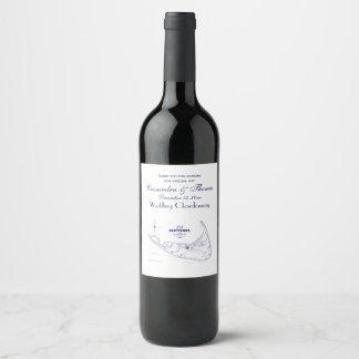 Étiquette Pour Bouteilles De Vin Bleu marine vintage de carte de mA d'île de