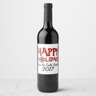 Étiquette Pour Bouteilles De Vin Bonnes fêtes sucre de canne rouge de menthe