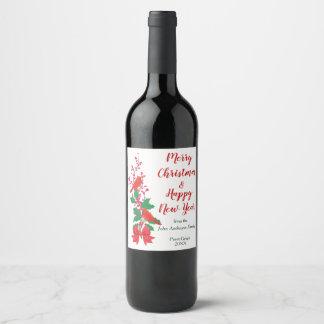 Étiquette Pour Bouteilles De Vin Cardinaux rouges sur Noël de houx