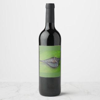 Étiquette Pour Bouteilles De Vin coquillage bleu sur le vert